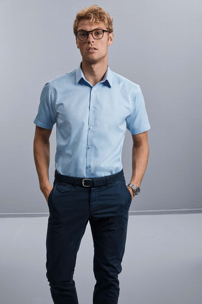 Russell Collection RU963M - Mens' Short Sleeve Herringbone Shirt