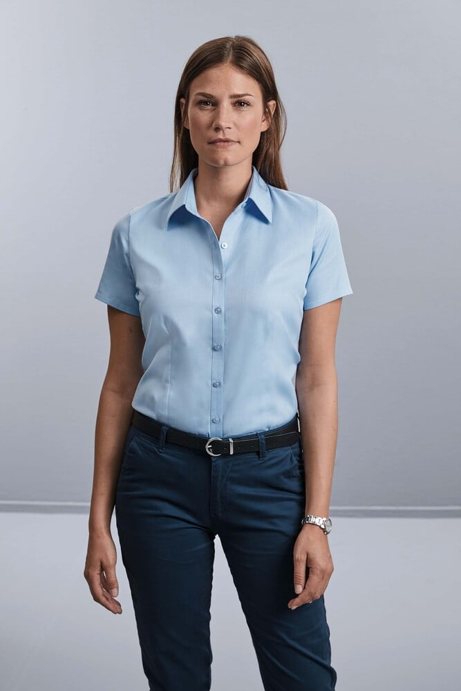 Russell Collection RU963F - Ladies' Short Sleeve Herringbone Shirt