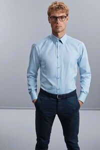 Russell Collection RU962M - Mens Long Sleeve Herringbone Shirt