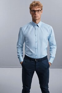 Russell Collection RU962M - Mens Long Sleeve Herringbone Shirt