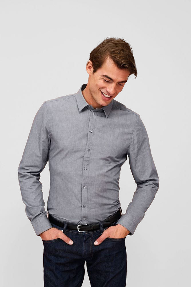 Sol's 01428 - Men's Long Sleeve Heather Poplin Shirt Barnet