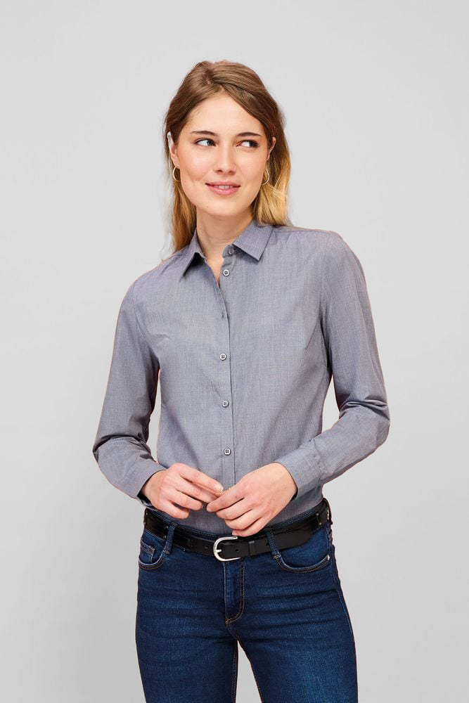 Sol's 01429 - Women's Long Sleeve Heather Poplin Shirt Barnet