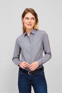 Sols 01429 - Womens Long Sleeve Heather Poplin Shirt Barnet