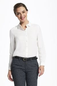 Sols 01433 - Damen Mooskrepp Bluse Langarm Betty