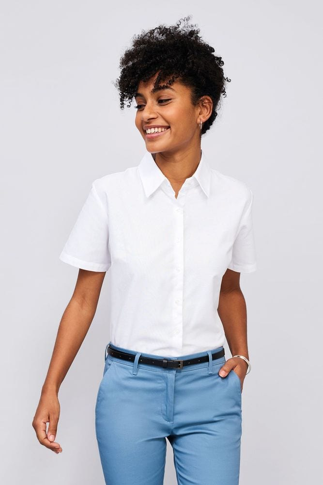 Sol's 16030 - Damen Oxford Bluse Kurzarm Elite