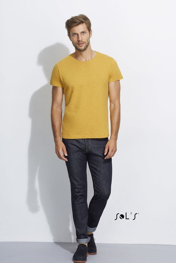 Sol's 11394 - MEN'S ROUND COLLAR SLUB T-SHIRT FIRST