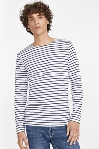 Sols 01402 - Mens Long Sleeve Striped T-Shirt Marine
