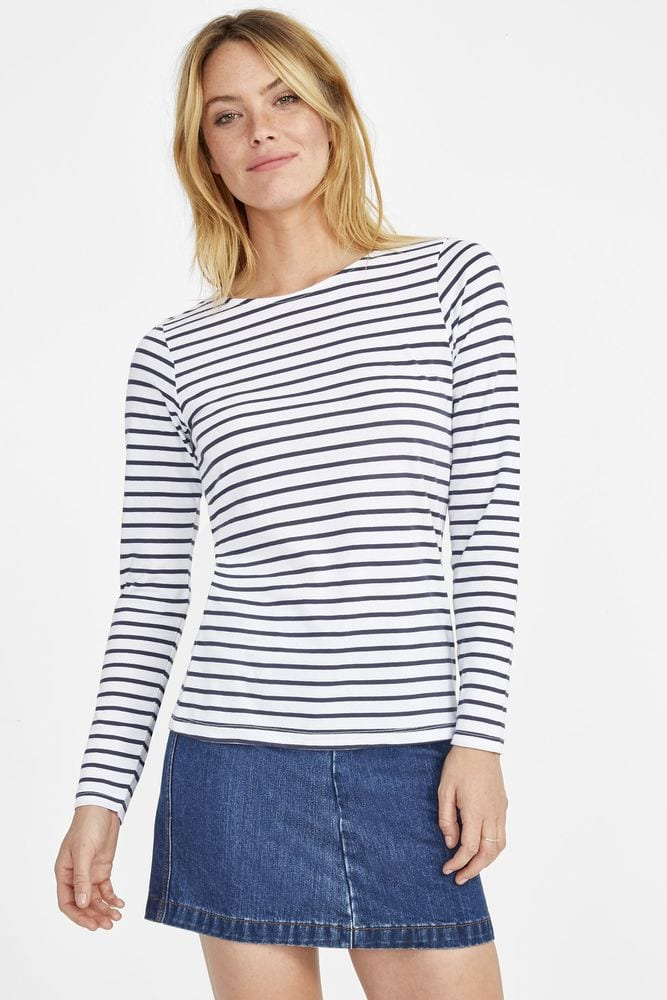 Sol's 01403 - Women's Long Sleeve Striped T-Shirt Marine