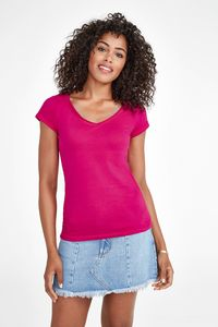 Sols 11387 - Womens V-Neck Rolled And Raw-Cut Finished T-Shirt Mild