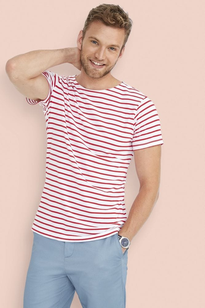 Sol's 01398 - Tee-Shirt Homme Col Rond Rayé MILES