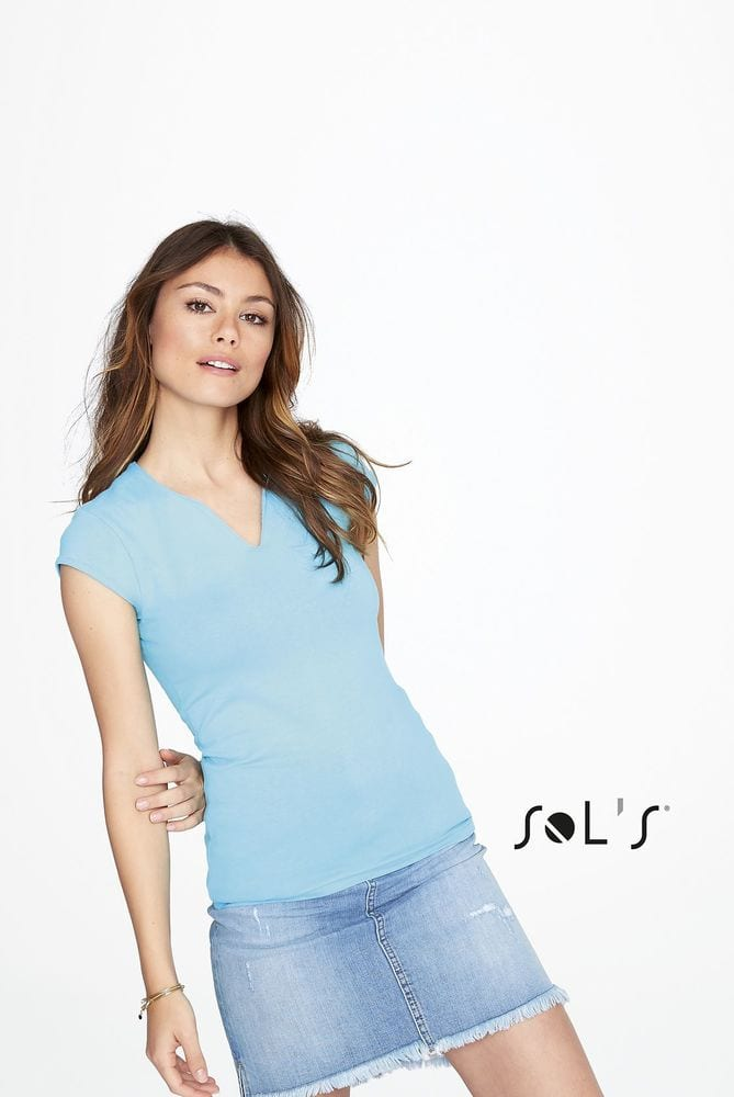Sol's 11165 - WOMEN'S CURVED V-NECK T-SHIRT WITH CAP SLEEVES MINT