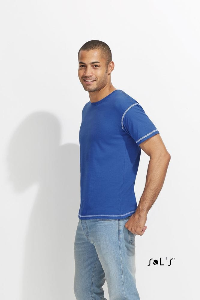 Sol's 00582 - MEN'S T-SHIRT WITH CONTRASTED FLATLOCKS MUSTANG