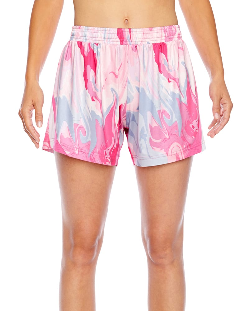 Team 365 TT42W - Ladies All Sport Sublimated Pink Swirl Short