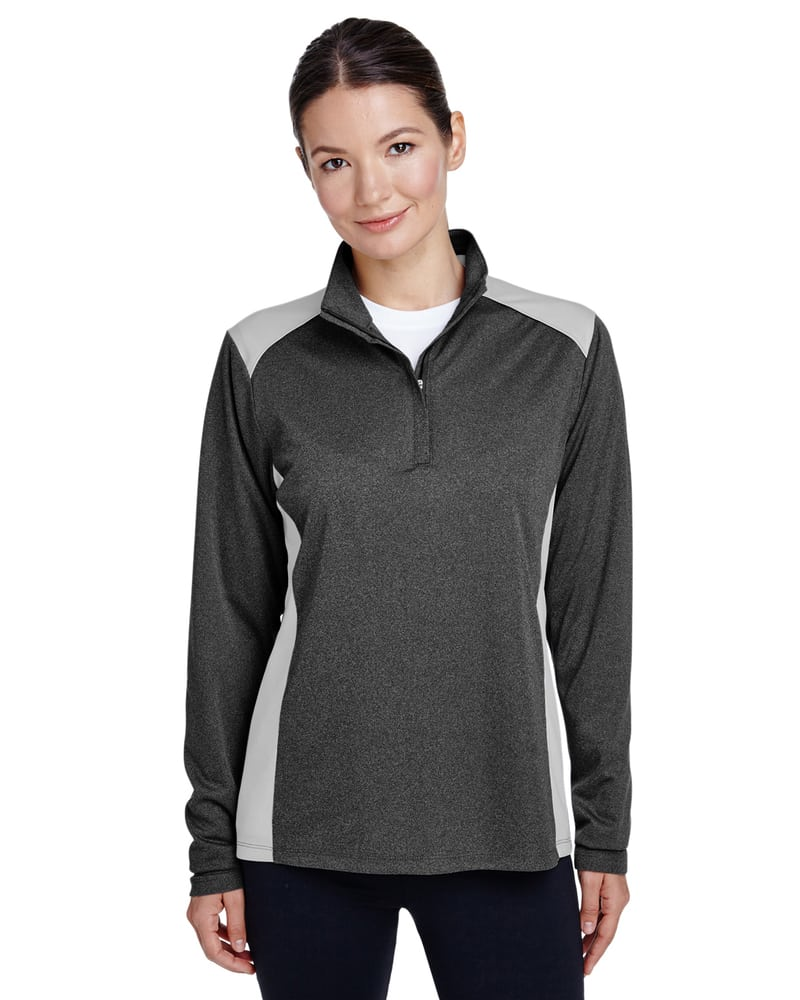 Team 365 TT26W - Ladies Excel Mélange Interlock Performance Quarter-Zip Top