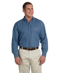 Harriton M550T - Mens Tall Short-Sleeve Denim Shirt