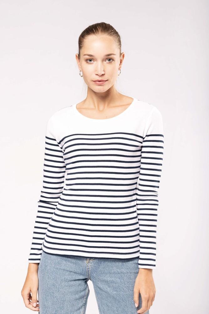 Kariban K386 - Ladies's striped long sleeve mariniere
