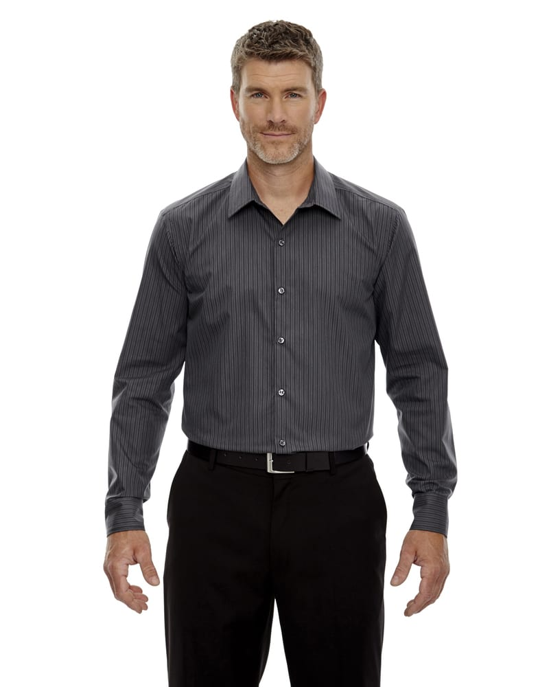 Ash City North End 88674 - Men's Boardwalk Wrinkle-Free Two-Ply 80's Cotton Striped Tape Shirt