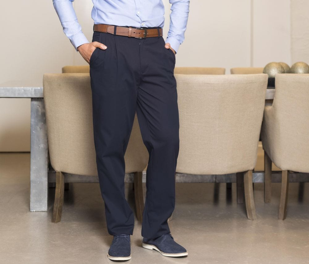 Henbury HY600 - Pantalon à Pinces Homme Chino
