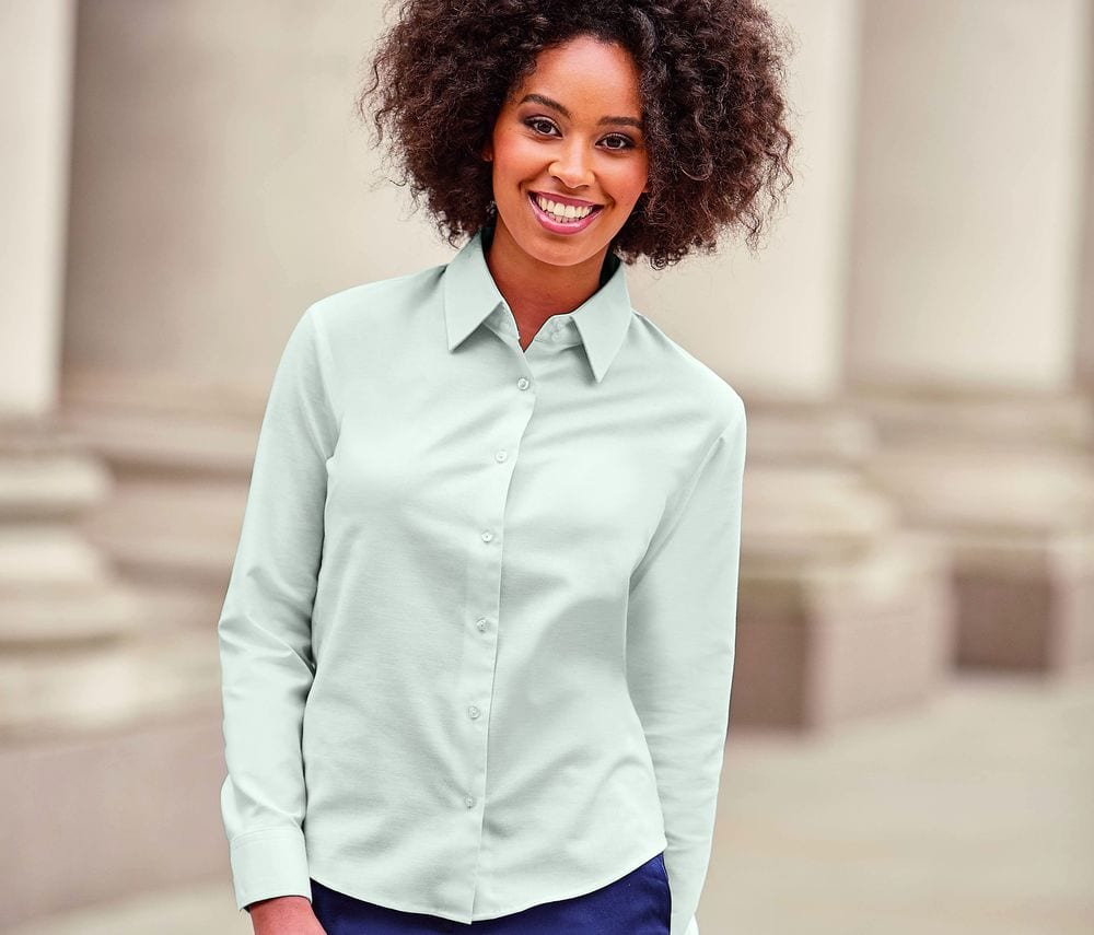 Russell Collection JZ32F - Ladies' Long Sleeve Easy Care Oxford Shirt