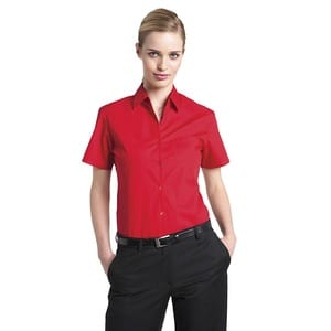 Russell Collection JZ37F - Ladies Short Sleeve Pure Cotton Easy Care Poplin Shirt
