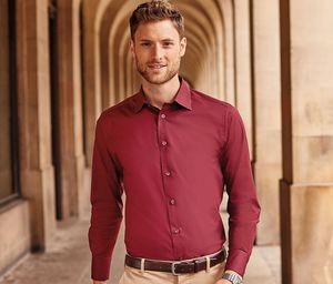 Russell Collection JZ946 - Camisa Justa Para Homem De Manga Comprida