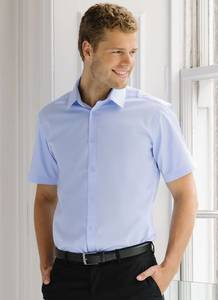 Russell Collection JZ963 - Overhemd Met Visgraat-Motief Met Korte Mouw