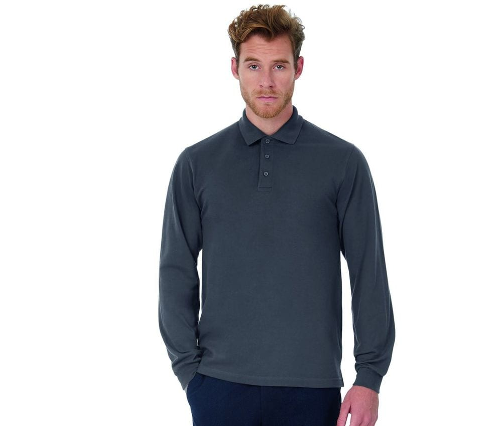 B&C BC445 - Polo Manches Longues Homme 100% Coton