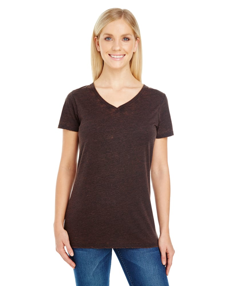 Threadfast 215B - T-shirt col V à manches courtes en teinture croisée pour femmes