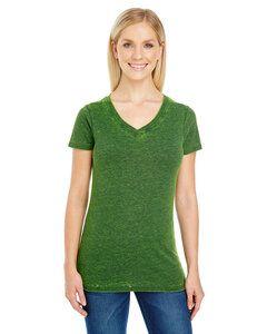 Threadfast 215B - Ladies Cross Dye Short-Sleeve V-Neck T-Shirt