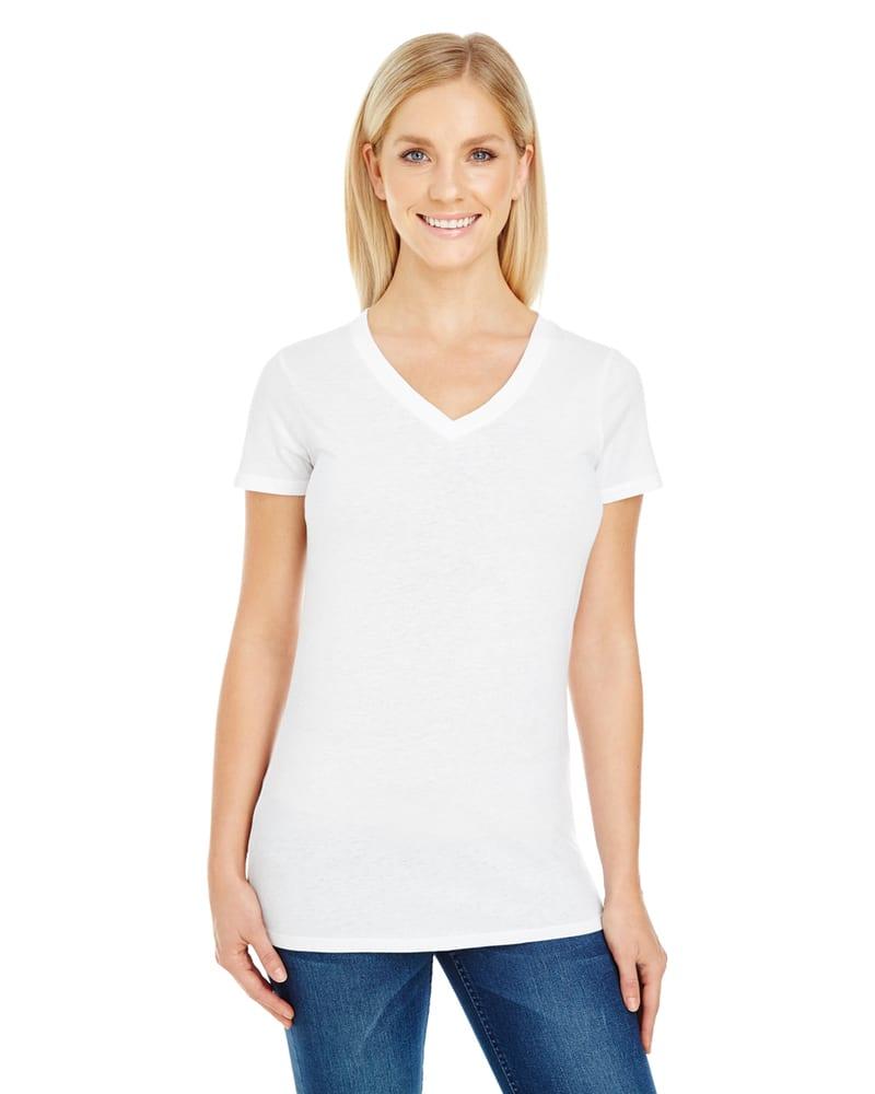 Threadfast 230B - T-shirt col V à manches courtes en teinture pigmentaire pour femmes