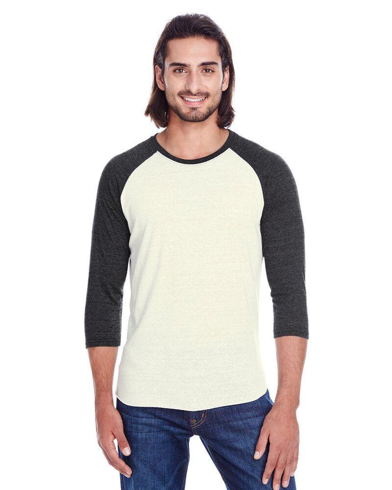 Threadfast 302G - T-Shirt Raglan unisexe Triblend à manches 3/4