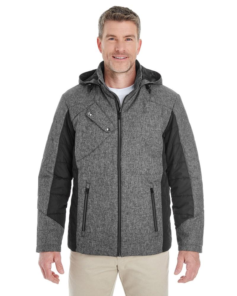 Devon & Jones DG710 - Men's Midtown Insulated Fabric-Block Jacket with Crosshatch Melange