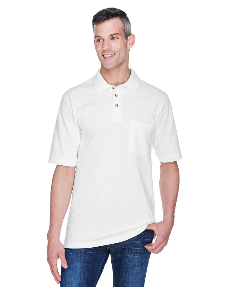 Harriton M200P - Adult 6 oz. Ringspun Cotton Piqué Short-Sleeve Pocket Polo
