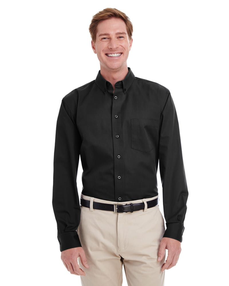 Harriton M581T - Men's Tall Foundation 100% Cotton Long Sleeve Twill Shirt with Teflon™