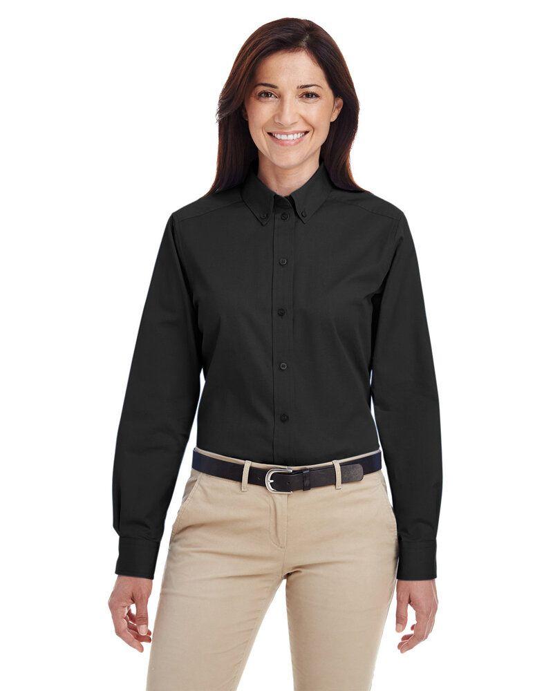 Harriton M581W - Ladies Foundation 100% Cotton Long Sleeve Twill Shirt with Teflon™