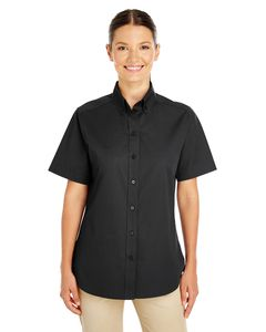 Harriton M582W - Ladies Foundation 100% Cotton Short Sleeve Twill Shirt Teflon™
