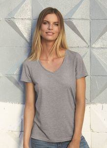 B&C BC058 - Camiseta Cuello V Tri-Blend Para Mujer TW058