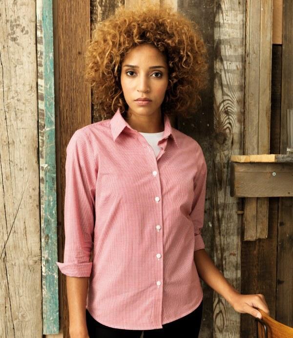 Premier PR320 - Ladies Gingham Long Sleeve Shirt