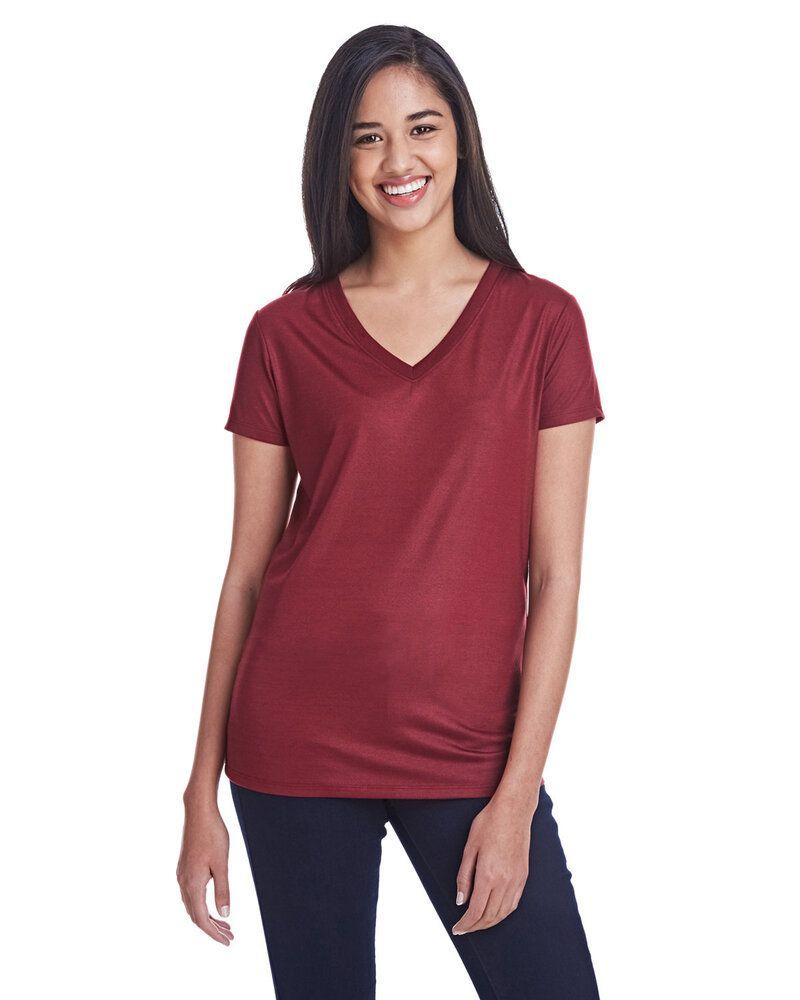 Threadfast 240RV - T-shirt col V en jersey liquide pour femme