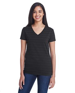 Threadfast 252RV - Ladies Invisible Stripe V-Neck T-Shirt