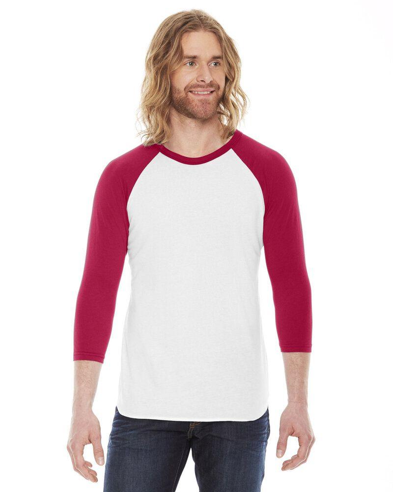 American Apparel BB453W - T-shirt raglan unisexe en polycoton à manches 3/4