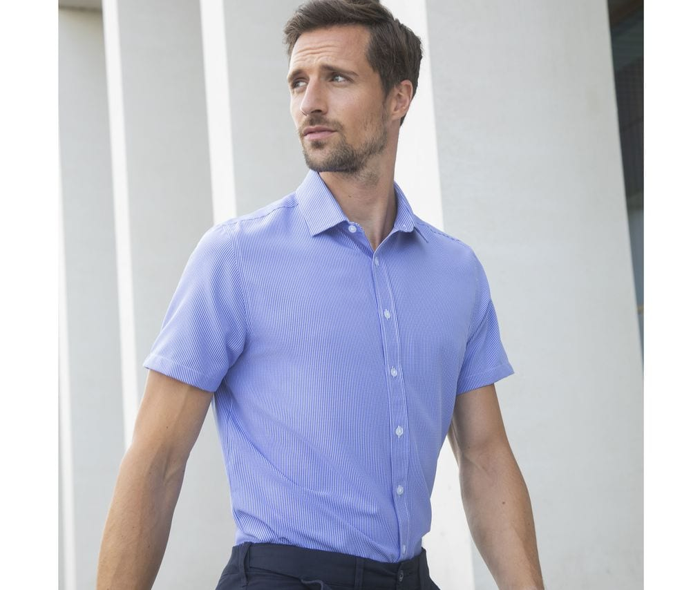 Henbury HY585 - Men's gingham cofrex/pufy wicking s/s shirt