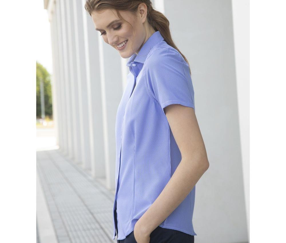 Henbury HY586 - Ladies' gingham cofrex/pufy wicking s/s shirt
