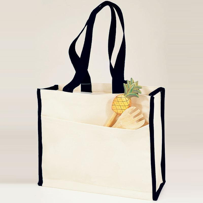 Q-Tees Q1100 - Canvas Gusset Tote Bag with Colored Handles