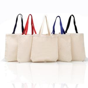 Q-Tees Q4400 - Promotional Tote with Bottom Gusset and Colored Handles