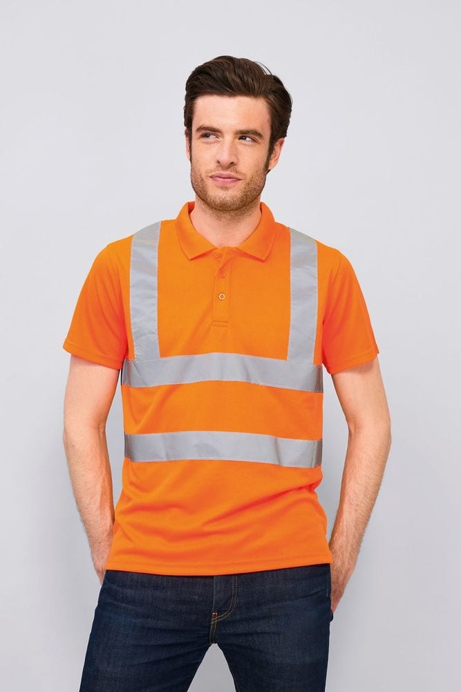 Sol's 01722 - Polo Shirt With High Visibility Strips Signal Pro
