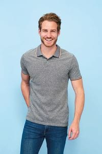 Sols 02081 - Paname Mens Heather Polo Shirt