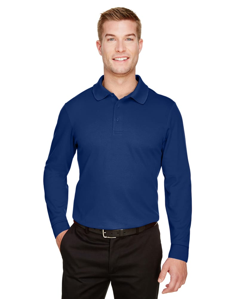 Devon & Jones DG20L - Men's CrownLux Performance™ Plaited Long-Sleeve Polo