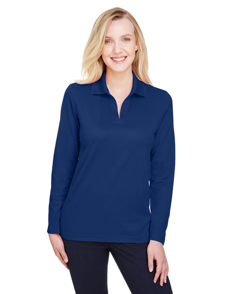 Devon & Jones DG20LW - Ladies CrownLux Performance™ Plaited Long-Sleeve Polo