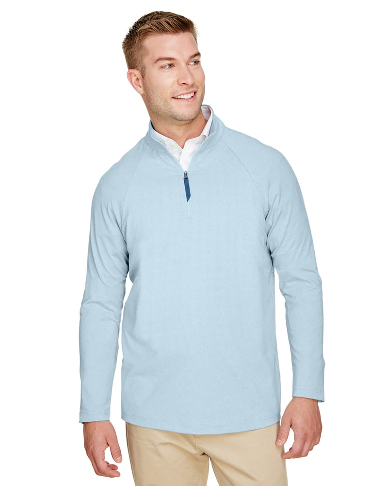 Devon & Jones DG480 - Men's CrownLux Performance™ Clubhouse Micro-Stripe Quarter-Zip